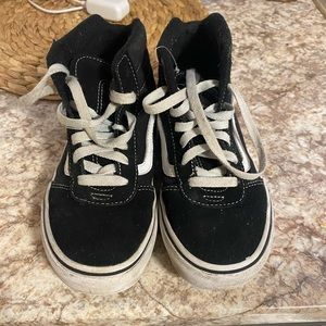 Vans black and white kids size 4